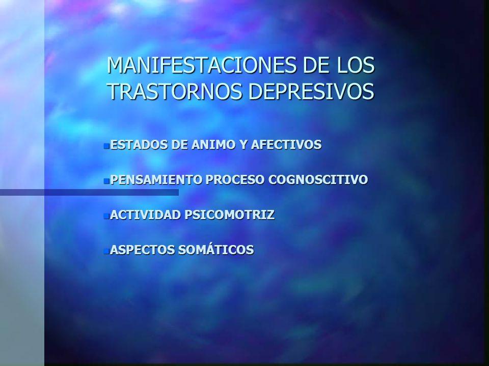 MANIFESTACIONES DE LOS TRASTORNOS DEPRESIVOS n ESTADOS DE ANIMO Y AFECTIVOS n PENSAMIENTO PROCESO COGNOSCITIVO n ACTIVIDAD PSICOMOTRIZ n ASPECTOS SOMÁTICOS