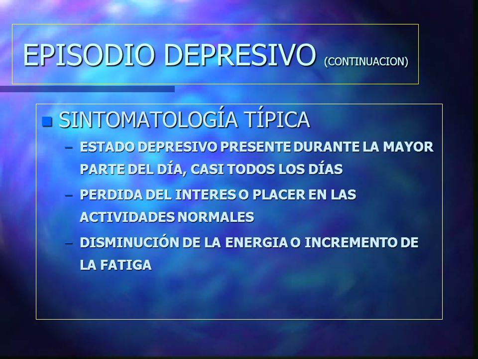n SINTOMATOLOGÍA TÍPICA –ESTADO DEPRESIVO PRESENTE DURANTE LA MAYOR PARTE DEL DÍA, CASI TODOS LOS DÍAS –PERDIDA DEL INTERES O PLACER EN LAS ACTIVIDADES NORMALES –DISMINUCIÓN DE LA ENERGIA O INCREMENTO DE LA FATIGA EPISODIO DEPRESIVO (CONTINUACION)