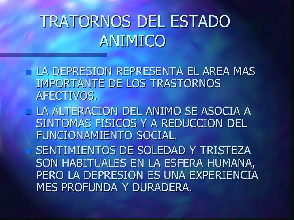 TRATORNOS DEL ESTADO ANIMICO TRATORNOS DEL ESTADO ANIMICO n LA DEPRESION REPRESENTA EL AREA MAS IMPORTANTE DE LOS TRASTORNOS AFECTIVOS.
