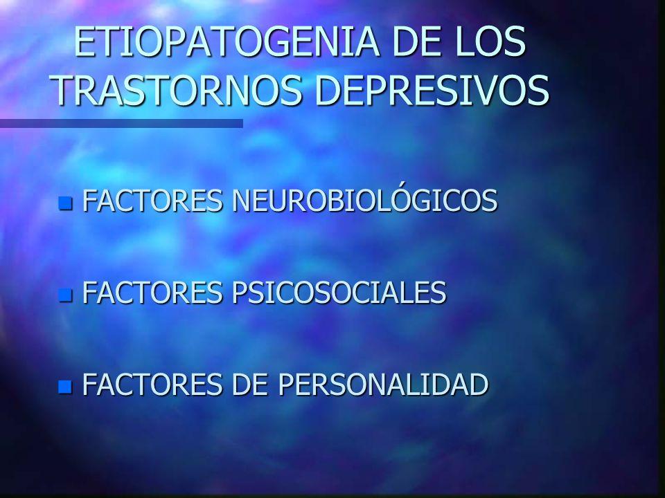 ETIOPATOGENIA DE LOS TRASTORNOS DEPRESIVOS n FACTORES NEUROBIOLÓGICOS n FACTORES PSICOSOCIALES n FACTORES DE PERSONALIDAD