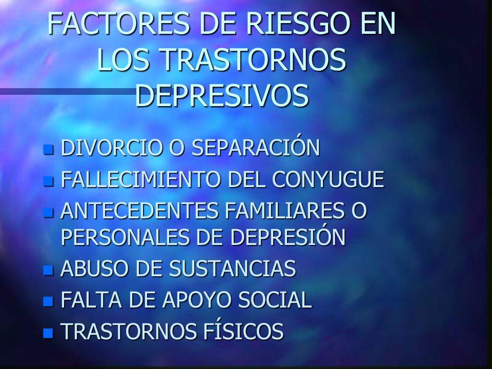 FACTORES DE RIESGO EN LOS TRASTORNOS DEPRESIVOS n DIVORCIO O SEPARACIÓN n FALLECIMIENTO DEL CONYUGUE n ANTECEDENTES FAMILIARES O PERSONALES DE DEPRESIÓN n ABUSO DE SUSTANCIAS n FALTA DE APOYO SOCIAL n TRASTORNOS FÍSICOS