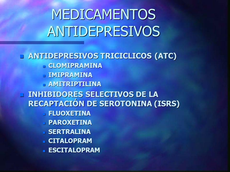 MEDICAMENTOS ANTIDEPRESIVOS n ANTIDEPRESIVOS TRICICLICOS (ATC) n CLOMIPRAMINA n IMIPRAMINA n AMITRIPTILINA n INHIBIDORES SELECTIVOS DE LA RECAPTACIÓN