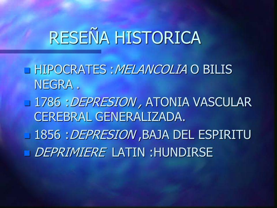 RESEÑA HISTORICA n HIPOCRATES :MELANCOLIA O BILIS NEGRA. n 1786 :DEPRESION, ATONIA VASCULAR CEREBRAL GENERALIZADA. n 1856 :DEPRESION,BAJA DEL ESPIRITU