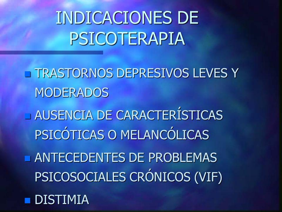 INDICACIONES DE PSICOTERAPIA n TRASTORNOS DEPRESIVOS LEVES Y MODERADOS n AUSENCIA DE CARACTERÍSTICAS PSICÓTICAS O MELANCÓLICAS n ANTECEDENTES DE PROBLEMAS PSICOSOCIALES CRÓNICOS (VIF) n DISTIMIA