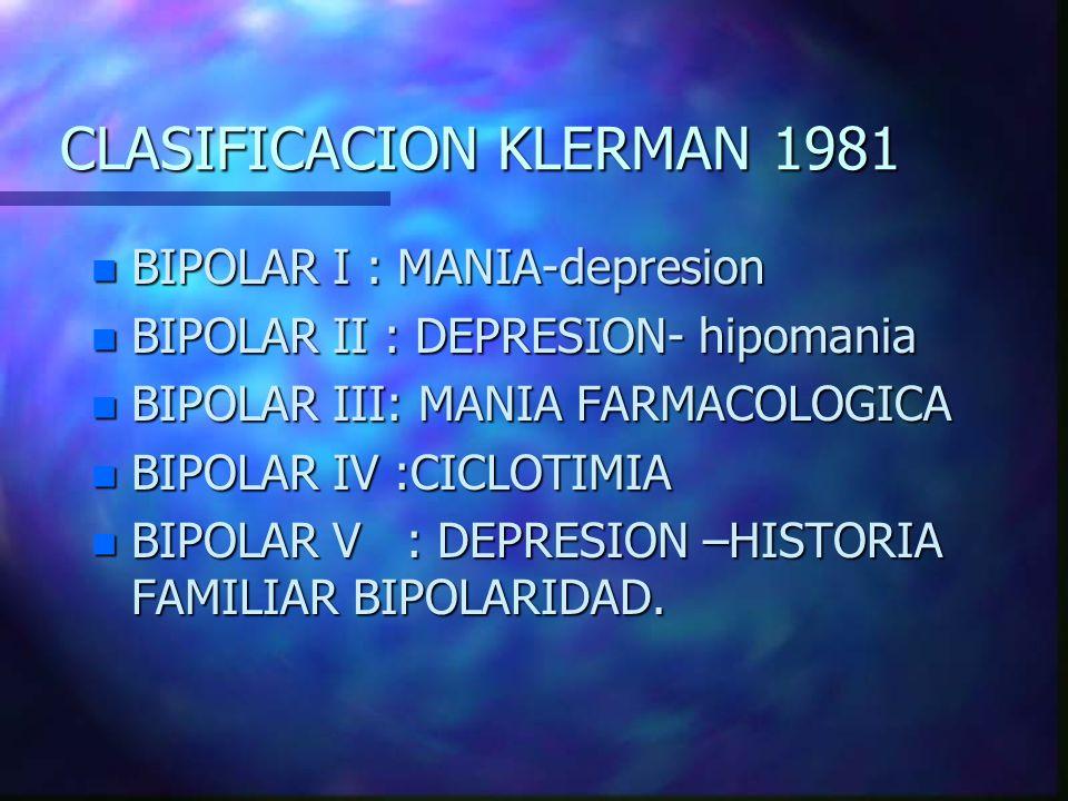 CLASIFICACION KLERMAN 1981 n BIPOLAR I : MANIA-depresion n BIPOLAR II : DEPRESION- hipomania n BIPOLAR III: MANIA FARMACOLOGICA n BIPOLAR IV :CICLOTIM