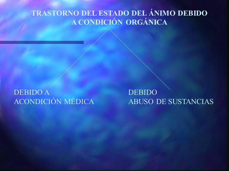 DEBIDO A DEBIDO ACONDICIÓN MÉDICAABUSO DE SUSTANCIAS TRASTORNO DEL ESTADO DEL ÁNIMO DEBIDO A CONDICIÓN ORGÁNICA