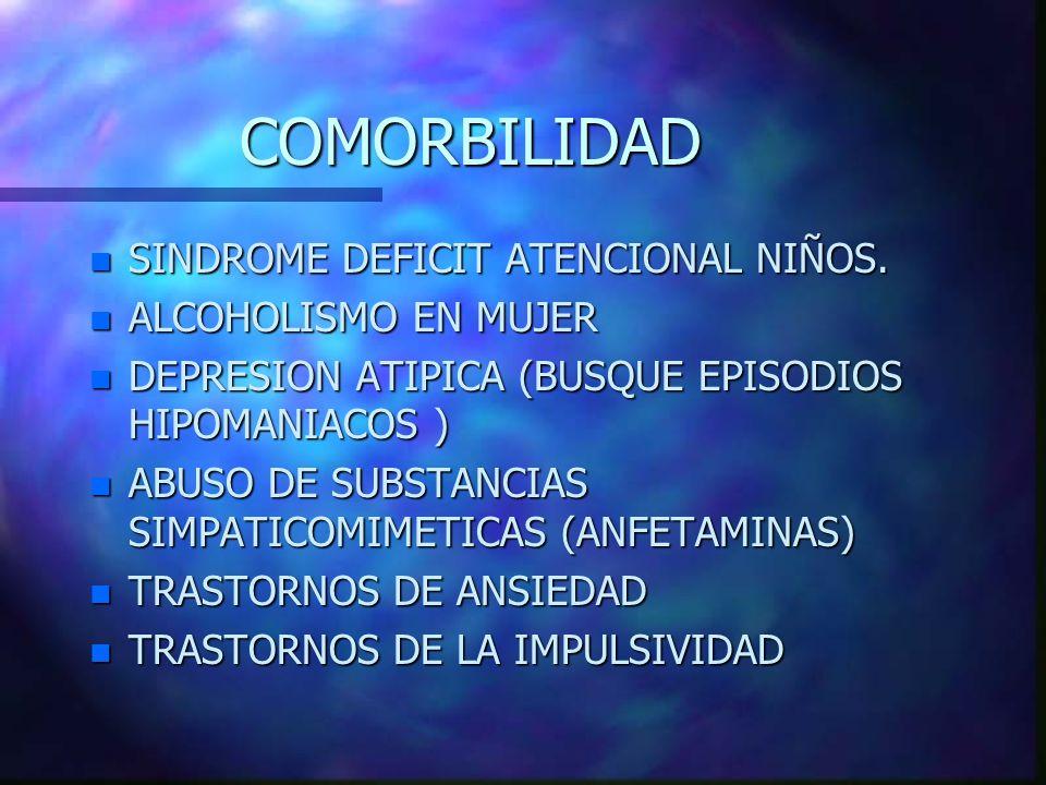 COMORBILIDAD n SINDROME DEFICIT ATENCIONAL NIÑOS. n ALCOHOLISMO EN MUJER n DEPRESION ATIPICA (BUSQUE EPISODIOS HIPOMANIACOS ) n ABUSO DE SUBSTANCIAS S