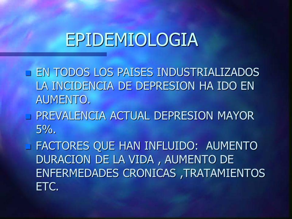 EPIDEMIOLOGIA n EN TODOS LOS PAISES INDUSTRIALIZADOS LA INCIDENCIA DE DEPRESION HA IDO EN AUMENTO. n PREVALENCIA ACTUAL DEPRESION MAYOR 5%. n FACTORES