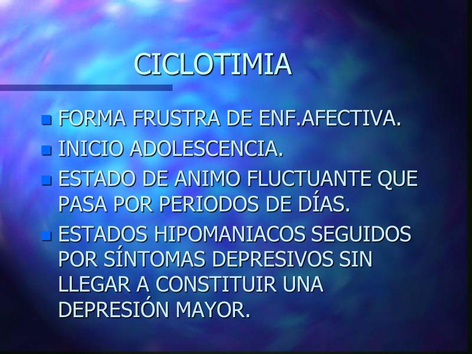 CICLOTIMIA n FORMA FRUSTRA DE ENF.AFECTIVA.n INICIO ADOLESCENCIA.