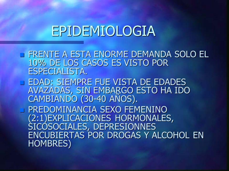 EPIDEMIOLOGIA n FRENTE A ESTA ENORME DEMANDA SOLO EL 10% DE LOS CASOS ES VISTO POR ESPECIALISTA. n EDAD: SIEMPRE FUE VISTA DE EDADES AVAZADAS, SIN EMB