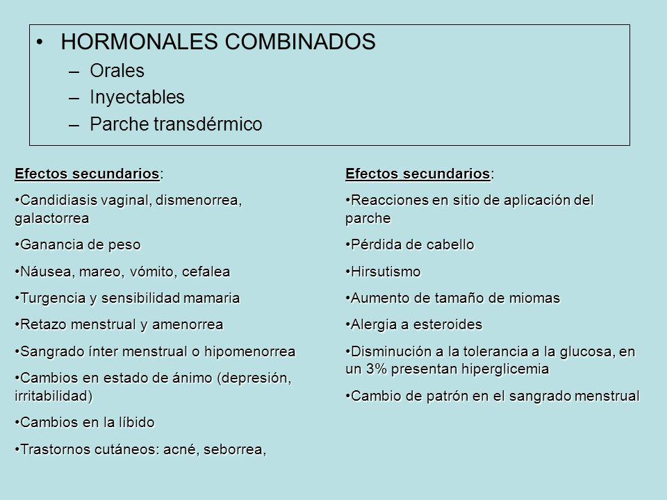 HORMONALES COMBINADOS –Orales –Inyectables –Parche transdérmico Efectos secundarios Efectos secundarios: Candidiasis vaginal, dismenorrea, galactorreaCandidiasis vaginal, dismenorrea, galactorrea Ganancia de pesoGanancia de peso Náusea, mareo, vómito, cefaleaNáusea, mareo, vómito, cefalea Turgencia y sensibilidad mamariaTurgencia y sensibilidad mamaria Retazo menstrual y amenorreaRetazo menstrual y amenorrea Sangrado ínter menstrual o hipomenorreaSangrado ínter menstrual o hipomenorrea Cambios en estado de ánimo (depresión, irritabilidad)Cambios en estado de ánimo (depresión, irritabilidad) Cambios en la líbidoCambios en la líbido Trastornos cutáneos: acné, seborrea,Trastornos cutáneos: acné, seborrea, Efectos secundarios Efectos secundarios: Reacciones en sitio de aplicación del parcheReacciones en sitio de aplicación del parche Pérdida de cabelloPérdida de cabello HirsutismoHirsutismo Aumento de tamaño de miomasAumento de tamaño de miomas Alergia a esteroidesAlergia a esteroides Disminución a la tolerancia a la glucosa, en un 3% presentan hiperglicemiaDisminución a la tolerancia a la glucosa, en un 3% presentan hiperglicemia Cambio de patrón en el sangrado menstrualCambio de patrón en el sangrado menstrual