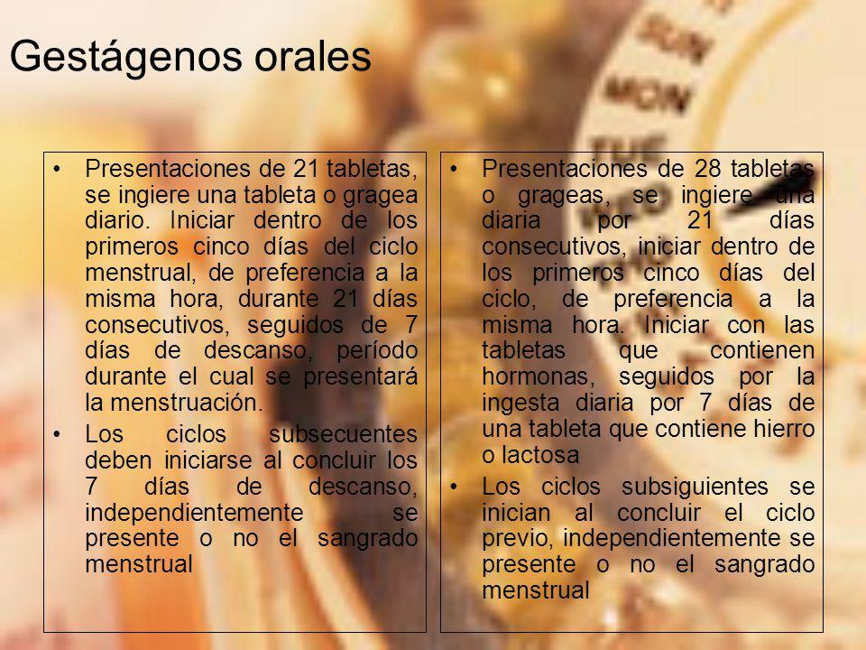 Gestágenos orales Presentaciones de 21 tabletas, se ingiere una tableta o gragea diario.