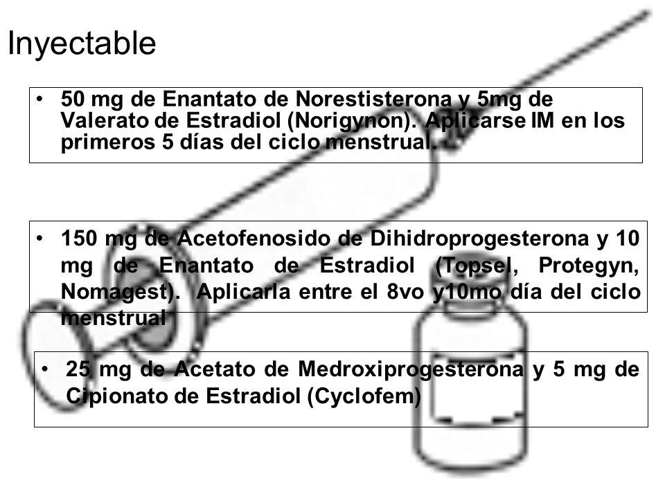 Inyectable 50 mg de Enantato de Norestisterona y 5mg de Valerato de Estradiol (Norigynon).