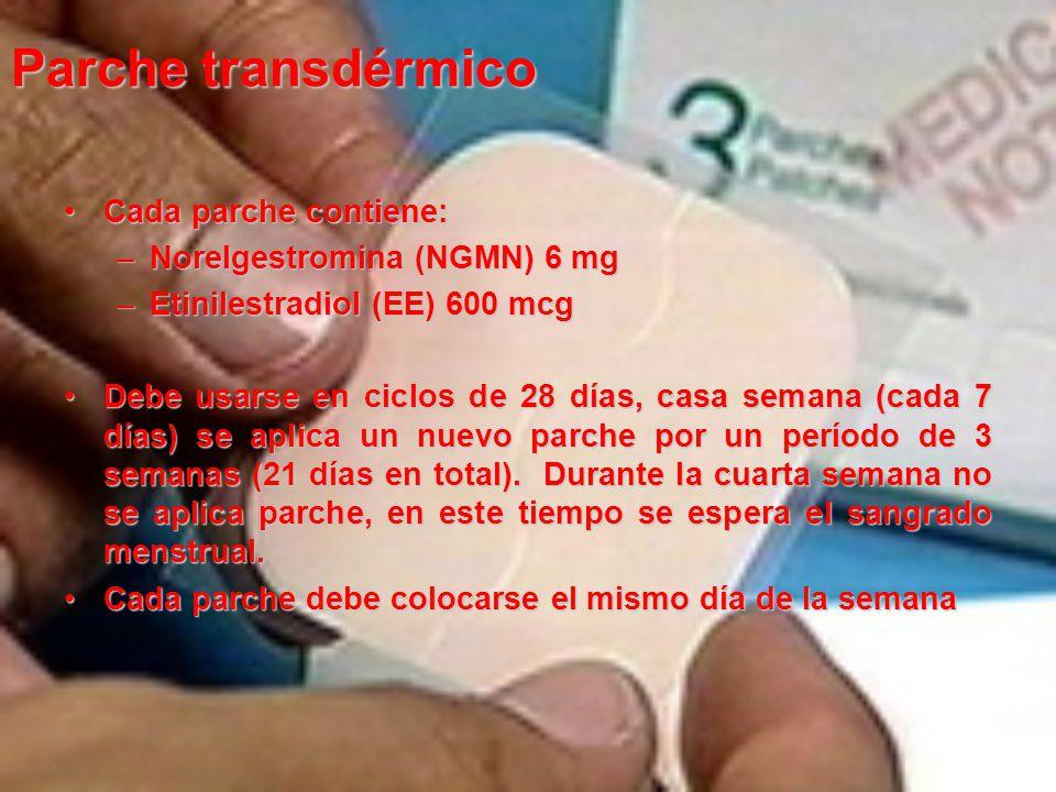 Parche transdérmico Cada parche contiene:Cada parche contiene: –Norelgestromina (NGMN) 6 mg –Etinilestradiol (EE) 600 mcg Debe usarse en ciclos de 28 días, casa semana (cada 7 días) se aplica un nuevo parche por un período de 3 semanas (21 días en total).