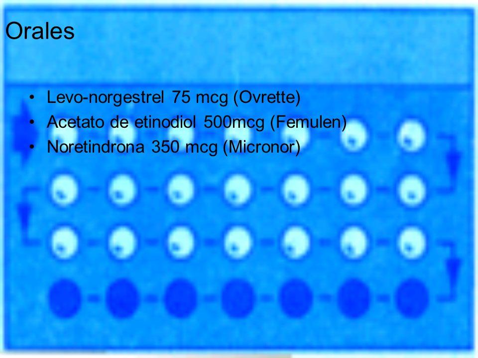 Orales Levo-norgestrel 75 mcg (Ovrette) Acetato de etinodiol 500mcg (Femulen) Noretindrona 350 mcg (Micronor)
