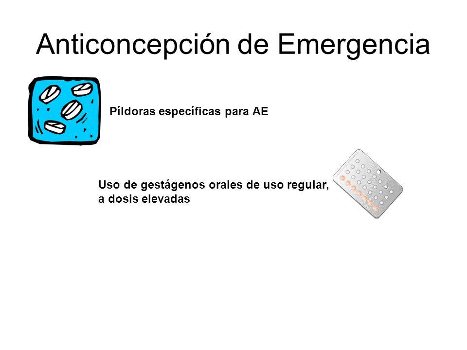Anticoncepción de Emergencia Píldoras específicas para AE Uso de gestágenos orales de uso regular, a dosis elevadas