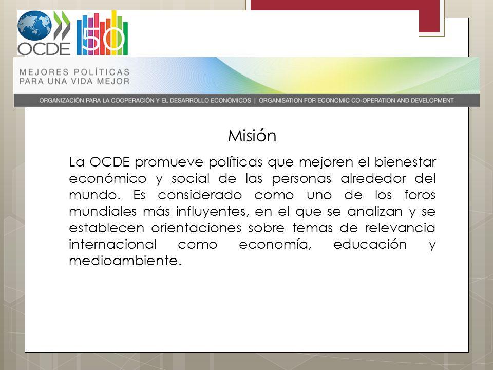 Misión La OCDE promueve políticas que mejoren el bienestar económico y social de las personas alrededor del mundo. Es considerado como uno de los foro