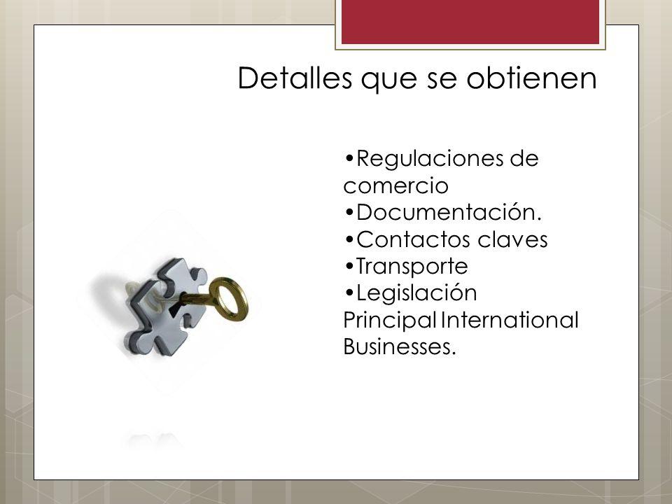 Regulaciones de comercio Documentación. Contactos claves Transporte Legislación Principal International Businesses. Detalles que se obtienen