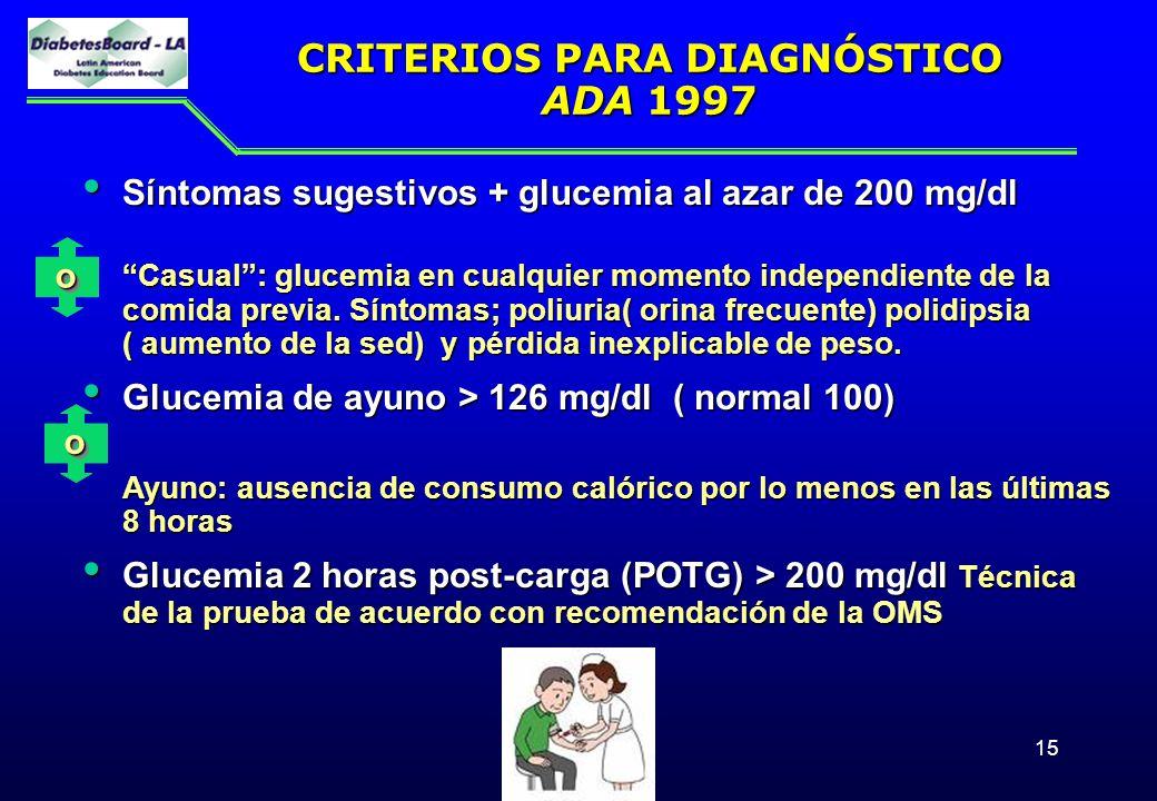 15 CRITERIOS PARA DIAGNÓSTICO ADA 1997 Síntomas sugestivos + glucemia al azar de 200 mg/dl Síntomas sugestivos + glucemia al azar de 200 mg/dl Casual:
