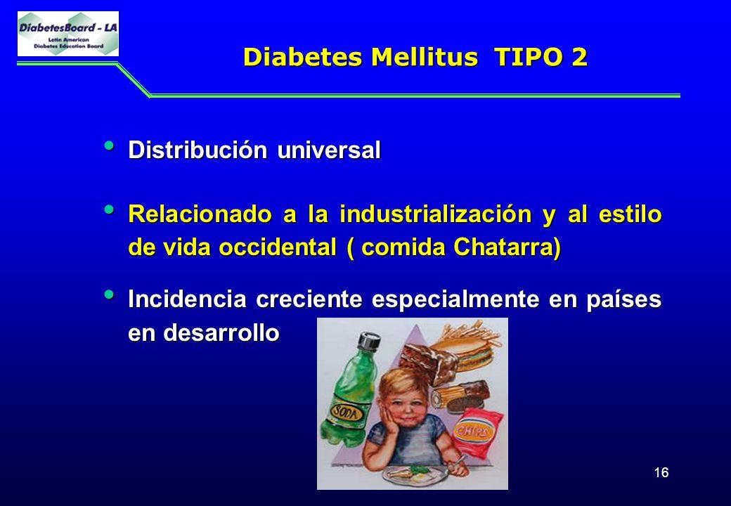 16 Diabetes Mellitus TIPO 2 Diabetes Mellitus TIPO 2 Distribución universal Distribución universal Relacionado a la industrialización y al estilo de v