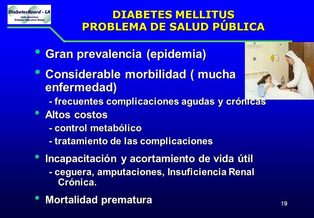 19 DIABETES MELLITUS PROBLEMA DE SALUD PÚBLICA Gran prevalencia (epidemia) Gran prevalencia (epidemia) Considerable morbilidad ( mucha enfermedad) Con