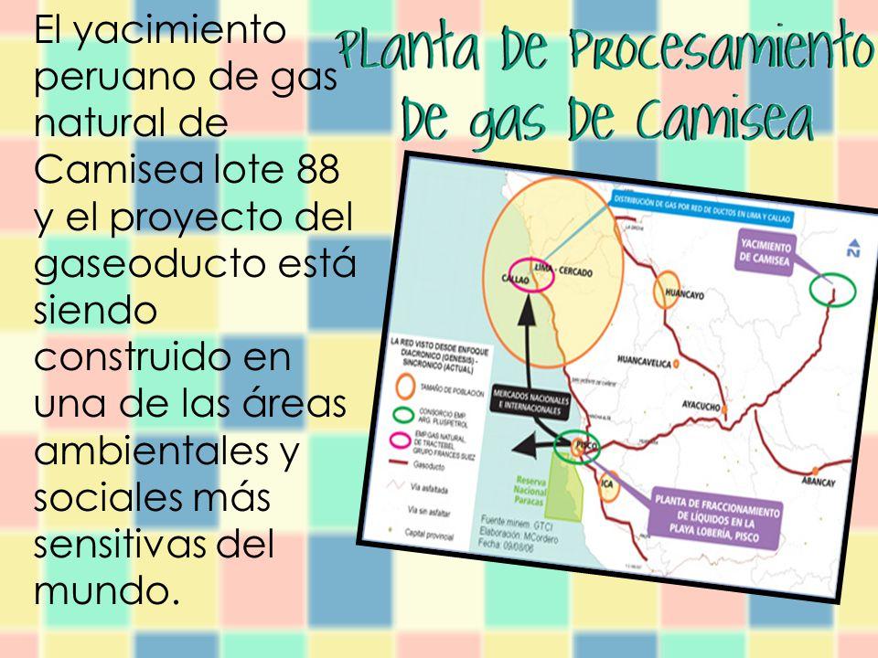 El yacimiento peruano de gas natural de Camisea lote 88 y el proyecto del gaseoducto está siendo construido en una de las áreas ambientales y sociales más sensitivas del mundo.