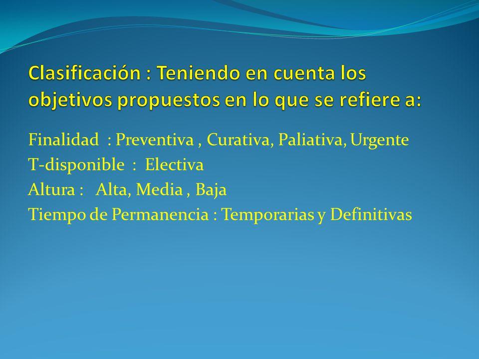 Finalidad : Preventiva, Curativa, Paliativa, Urgente T-disponible : Electiva Altura : Alta, Media, Baja Tiempo de Permanencia : Temporarias y Definitivas