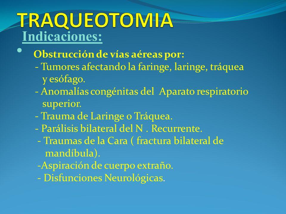 Obstrucción de vías aéreas por: - Tumores afectando la faringe, laringe, tráquea y esófago.