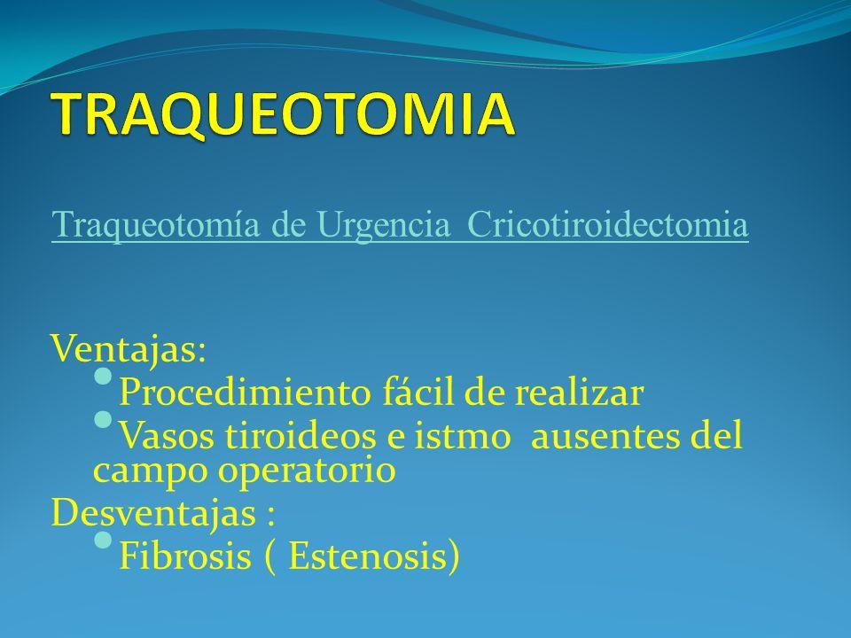 Ventajas: Procedimiento fácil de realizar Vasos tiroideos e istmo ausentes del campo operatorio Desventajas : Fibrosis ( Estenosis) Traqueotomía de Urgencia Cricotiroidectomia