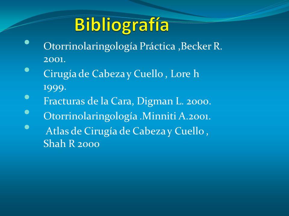 Otorrinolaringología Práctica,Becker R.2001. Cirugía de Cabeza y Cuello, Lore h 1999.