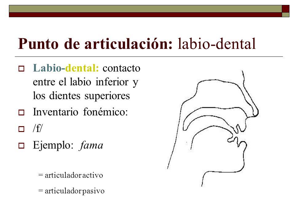 Punto de articulación: labio-dental Labio-dental: contacto entre el labio inferior y los dientes superiores Inventario fonémico: /f/ Ejemplo: fama = a