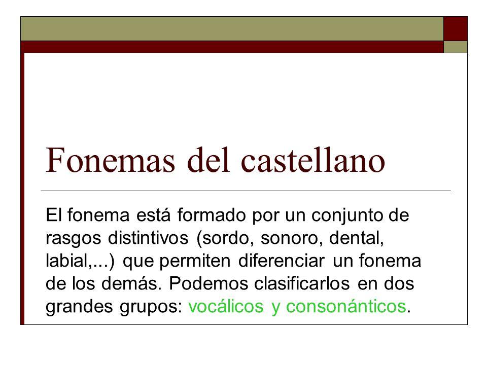 Fonemas del castellano El fonema está formado por un conjunto de rasgos distintivos (sordo, sonoro, dental, labial,...) que permiten diferenciar un fo