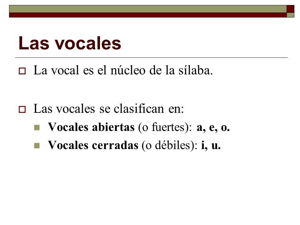 Las vocales La vocal es el núcleo de la sílaba. Las vocales se clasifican en: Vocales abiertas (o fuertes): a, e, o. Vocales cerradas (o débiles): i,