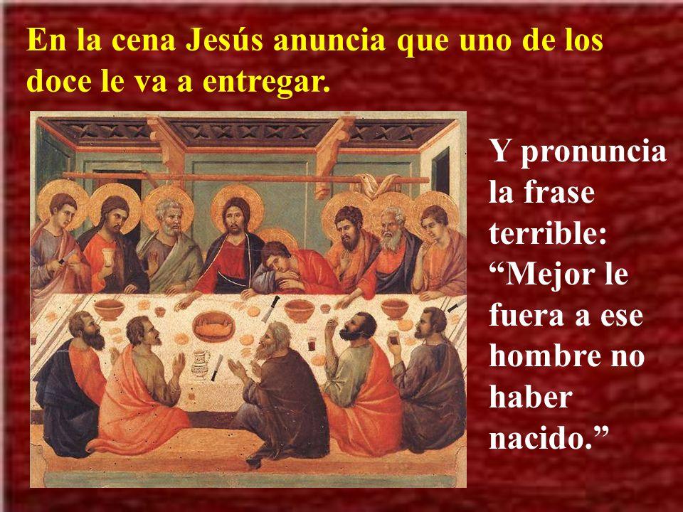 Jesús envía a dos discípulos para preparar la sala para la cena de pascua. Para ello deben seguir a un hombre con un cántaro de agua. Esto no era norm