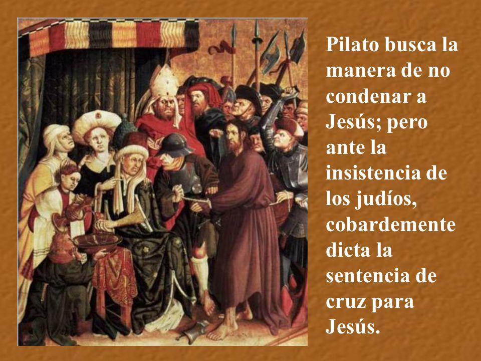 Jesús es entregado a los romanos, ya que Pilato es quien tiene poder de dictar sentencia de muerte, especialmente de cruz. A Pilato le interesa el lad