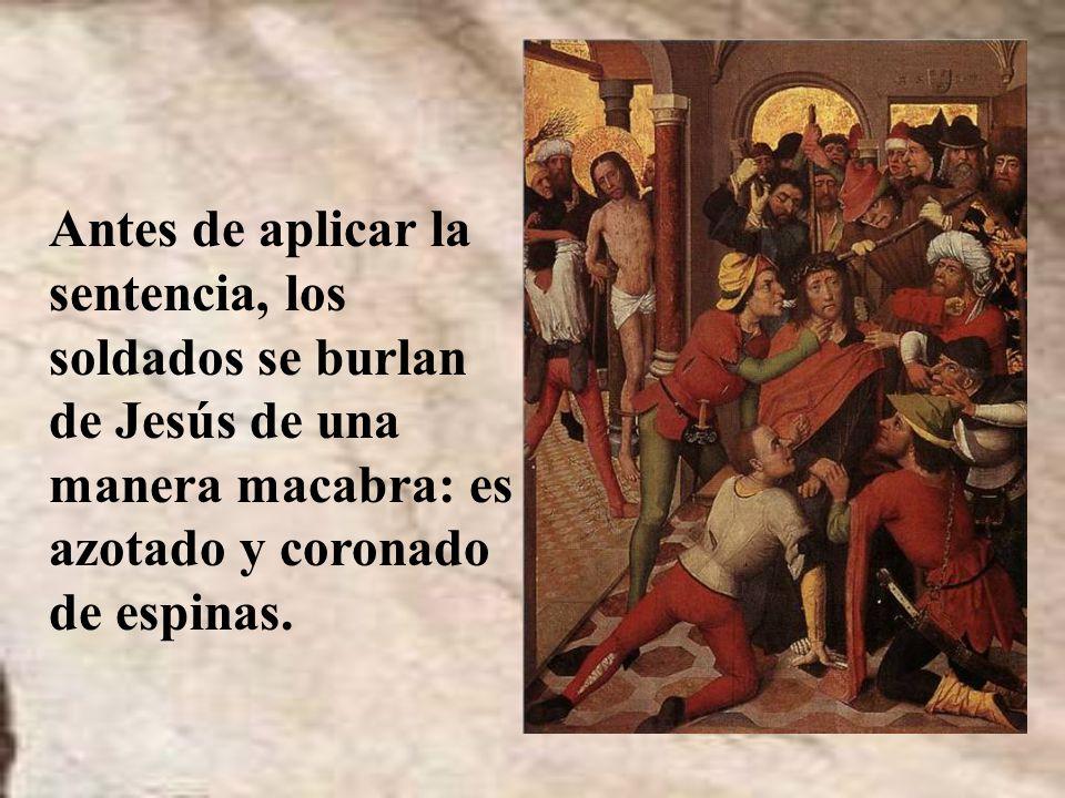 Pilato busca la manera de no condenar a Jesús; pero ante la insistencia de los judíos, cobardemente dicta la sentencia de cruz para Jesús.