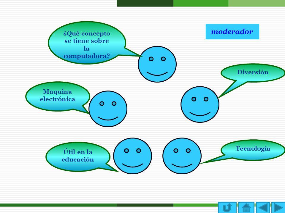 moderador Diversión ¿Qué concepto se tiene sobre la computadora? Maquina electrónica Tecnología Útil en la educación