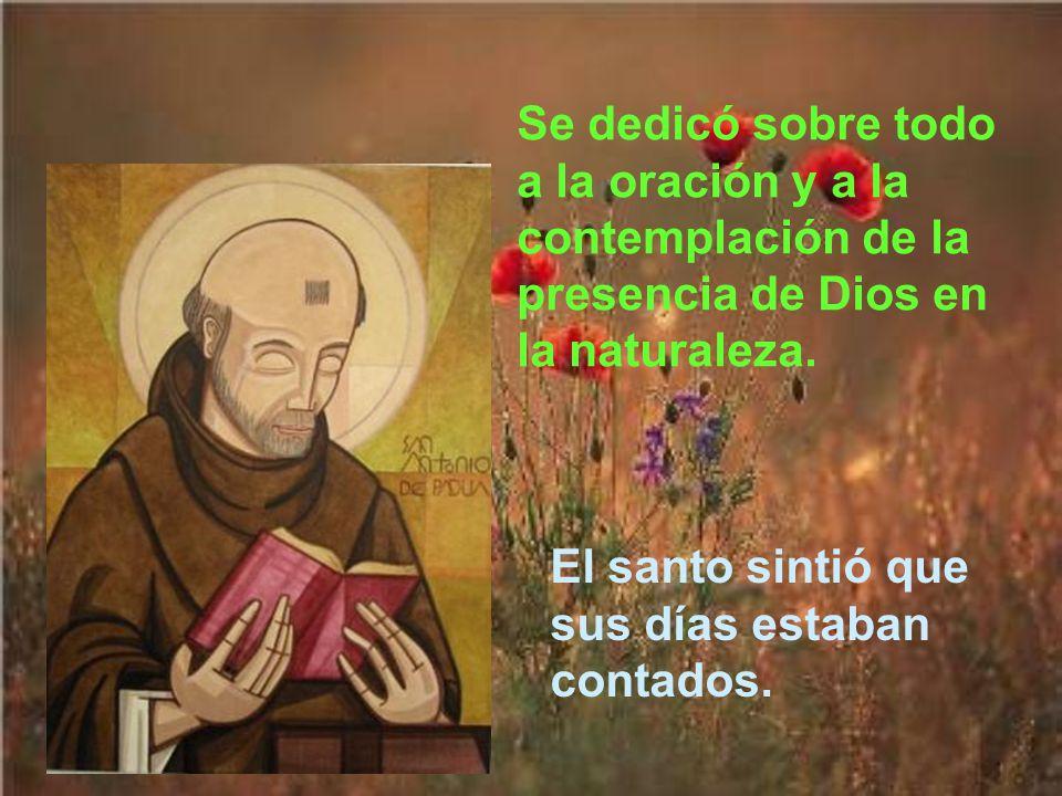 En la cuaresma de 1231, aunque su salud era débil, san Antonio predicó los 40 días seguidos. Al terminar estaba agotado y tuvo que retirarse con algun