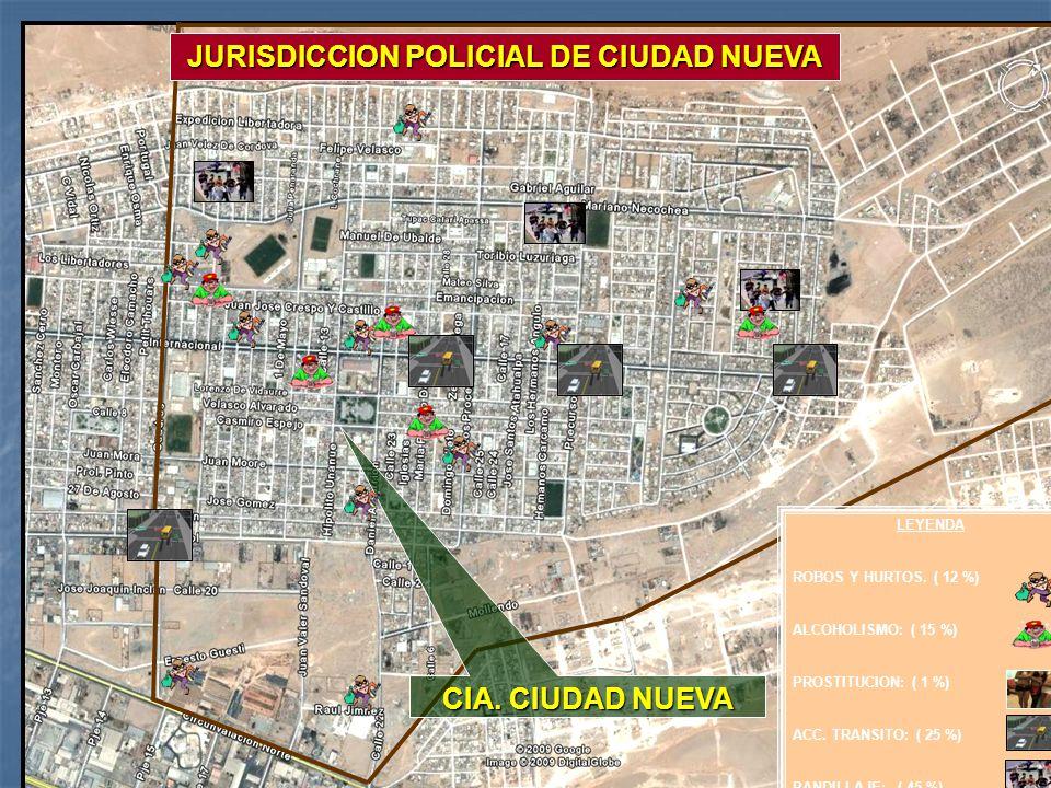 MY. SALINAS CIA. CIUDAD NUEVA JURISDICCION POLICIAL DE CIUDAD NUEVA LEYENDA ROBOS Y HURTOS. ( 12 %) ALCOHOLISMO: ( 15 %) PROSTITUCION: ( 1 %) ACC. TRA