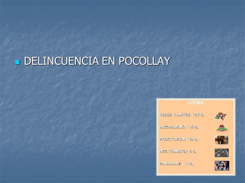 DELINCUENCIA EN POCOLLAY DELINCUENCIA EN POCOLLAY MY. SALINAS LEYENDA ROBOS Y HURTOS. ( 5.7 %) ALCOHOLISMO: ( 15 %) PROSTITUCION: ( 50 %) ACC. TRANSIT