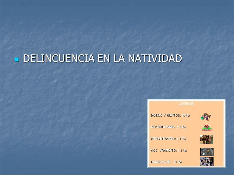 DELINCUENCIA EN LA NATIVIDAD DELINCUENCIA EN LA NATIVIDAD LEYENDA ROBOS Y HURTOS. (9 %) ALCOHOLISMO: ( 5 %) PROSTITUCION: ( 1 %) ACC. TRANSITO: ( 1 %)