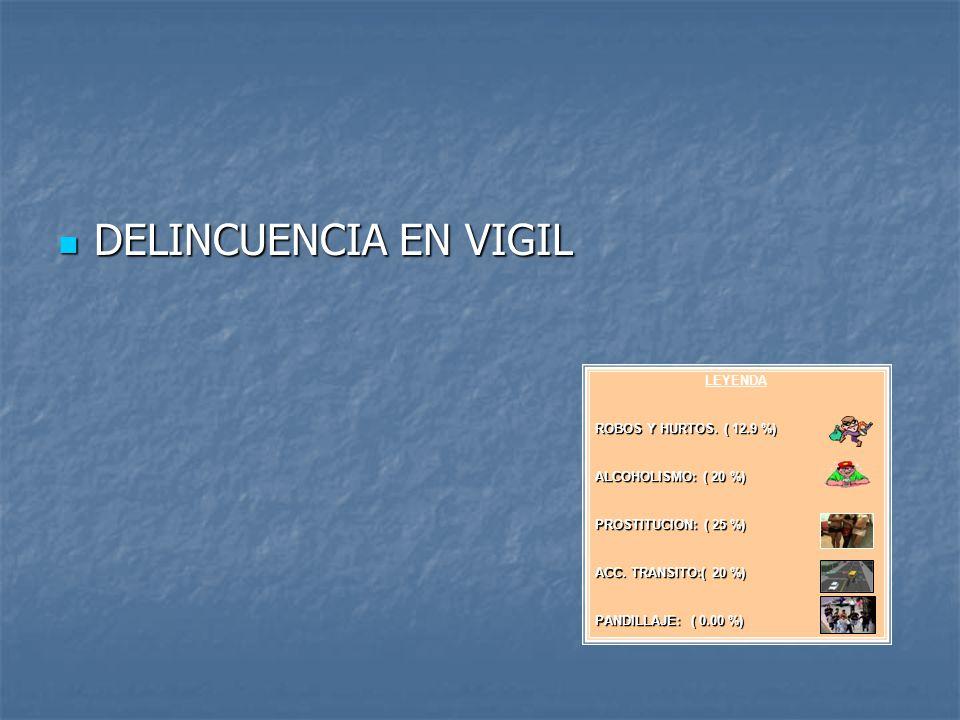 DELINCUENCIA EN VIGIL DELINCUENCIA EN VIGIL LEYENDA ROBOS Y HURTOS. ( 12.9 %) ALCOHOLISMO: ( 20 %) PROSTITUCION: ( 25 %) ACC. TRANSITO:( 20 %) PANDILL