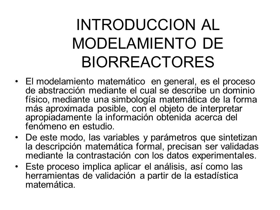 INTRODUCCION AL MODELAMIENTO DE BIORREACTORES El modelamiento matemático en general, es el proceso de abstracción mediante el cual se describe un dominio físico, mediante una simbología matemática de la forma más aproximada posible, con el objeto de interpretar apropiadamente la información obtenida acerca del fenómeno en estudio.