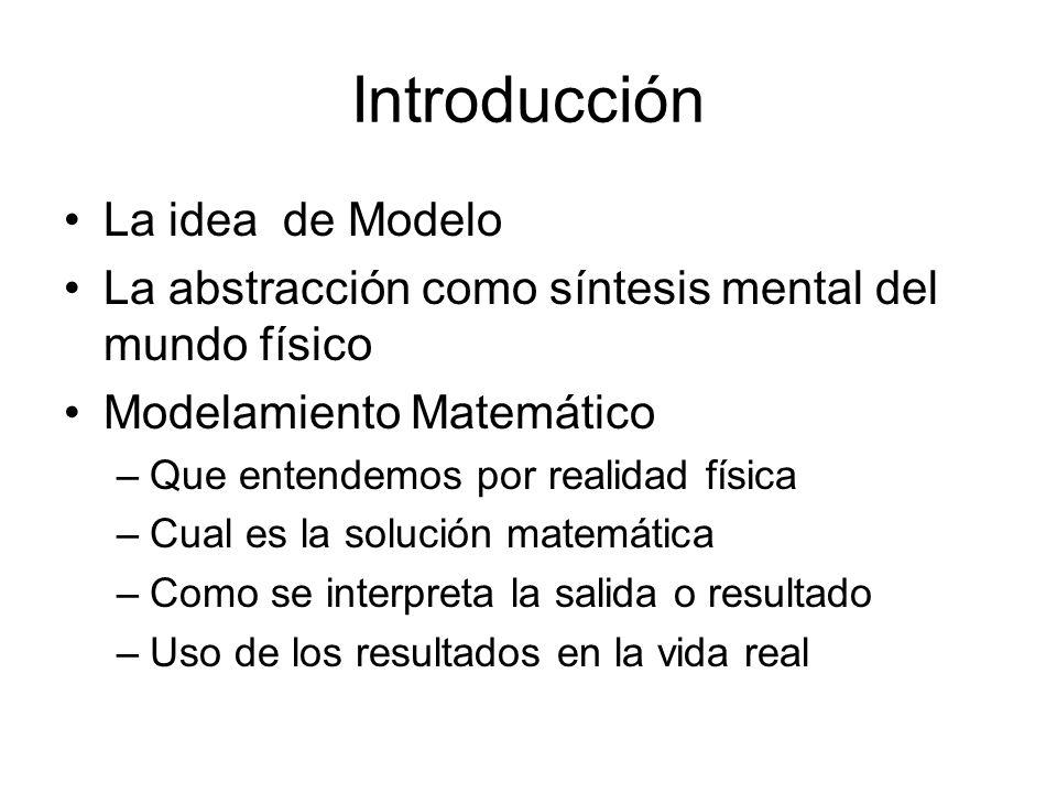 Introducción La idea de Modelo La abstracción como síntesis mental del mundo físico Modelamiento Matemático –Que entendemos por realidad física –Cual es la solución matemática –Como se interpreta la salida o resultado –Uso de los resultados en la vida real
