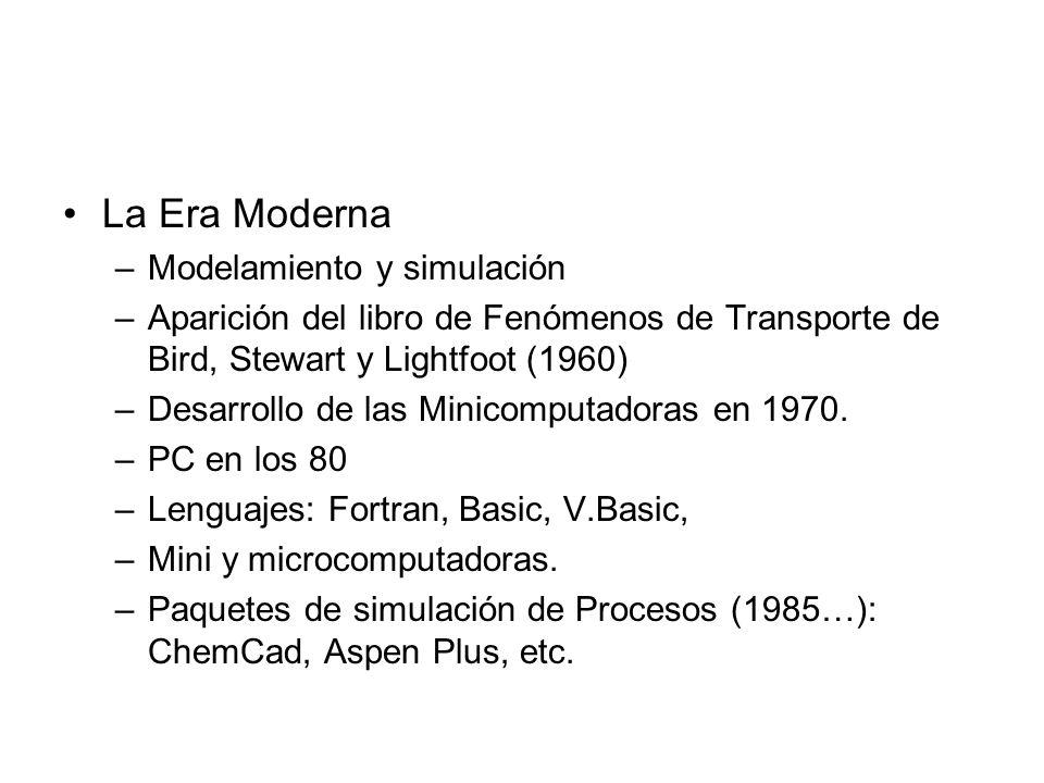 La Era Moderna –Modelamiento y simulación –Aparición del libro de Fenómenos de Transporte de Bird, Stewart y Lightfoot (1960) –Desarrollo de las Minicomputadoras en 1970.