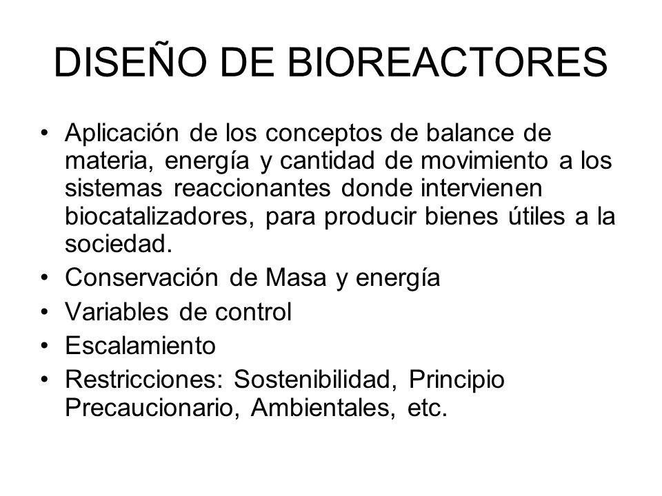 DISEÑO DE BIOREACTORES Aplicación de los conceptos de balance de materia, energía y cantidad de movimiento a los sistemas reaccionantes donde intervienen biocatalizadores, para producir bienes útiles a la sociedad.