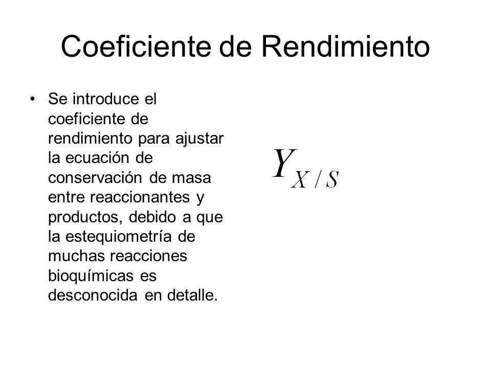 Coeficiente de Rendimiento Se introduce el coeficiente de rendimiento para ajustar la ecuación de conservación de masa entre reaccionantes y productos, debido a que la estequiometría de muchas reacciones bioquímicas es desconocida en detalle.