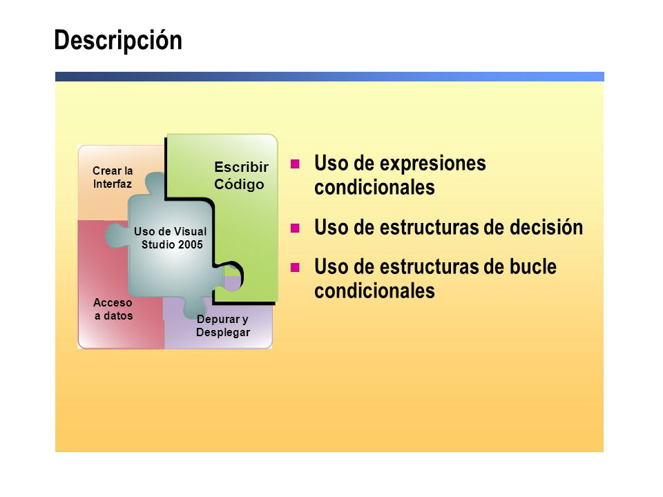 Descripción Uso de expresiones condicionales Uso de estructuras de decisión Uso de estructuras de bucle condicionales Debug and Deploy Escribir Código
