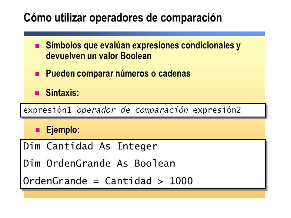 Cómo utilizar operadores de comparación Símbolos que evalúan expresiones condicionales y devuelven un valor Boolean Pueden comparar números o cadenas