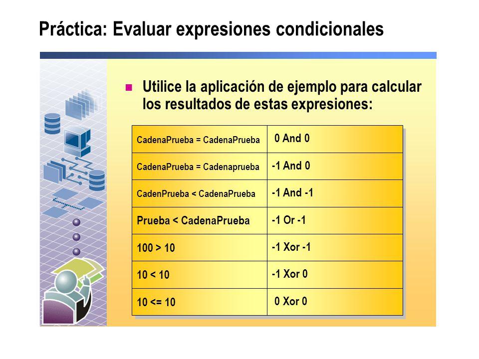 Práctica: Evaluar expresiones condicionales Utilice la aplicación de ejemplo para calcular los resultados de estas expresiones: CadenaPrueba = CadenaP